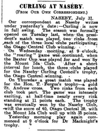 1908 Baxter Cup report from Otago Witness